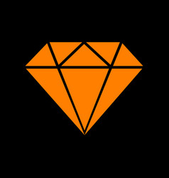 Diamond sign orange icon on black vector