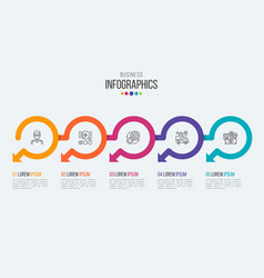 Five steps timeline infographic template with vector