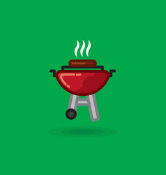 fried meat smokes on vector image