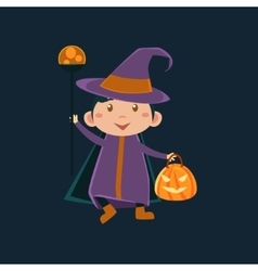 Girl in witch violet haloween disguise vector