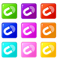 Horseshoe magnet icons 9 set vector