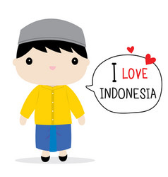 Indonesia men national dress cartoon vector