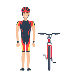 isolated icons of bicycle and cyclist on white vector image vector image