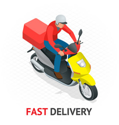 Isomeric fast delivery concept delivery scooter vector
