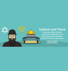 Iudaism and thora banner horizontal concept vector