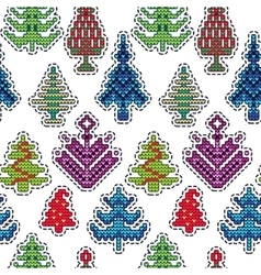 Knitted Christmas Patch Pattern vector image