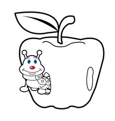 Larva worm and apple cartoon coloring page for tod vector
