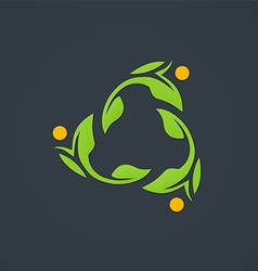Leaf ecology circle abstract logo vector