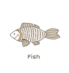 Lineart fish vector image vector image