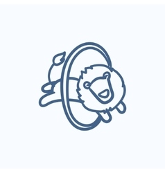 Lion jumping through ring sketch icon vector image