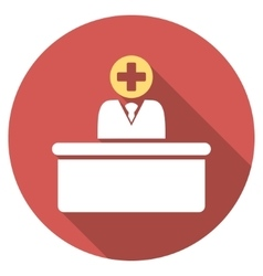 Medical Bureaucrat Flat Round Icon with Long vector image vector image