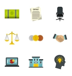 Office icons set flat style vector