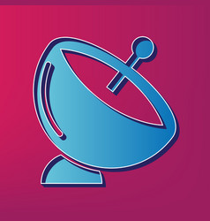 Satellite dish sign blue 3d printed icon vector