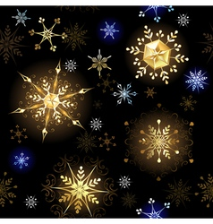 Seamless with Golden Snowflakes vector image vector image