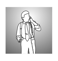 Smoking businessman with suspenders or braces vector