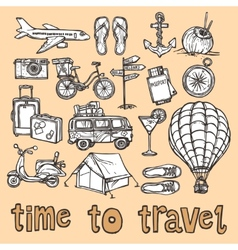 Travel sketch icons set vector image vector image