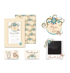 Vintage wedding invitation set design template vector