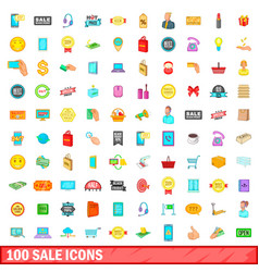 100 sale icons set cartoon style vector