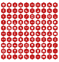 100 sport team icons hexagon red vector