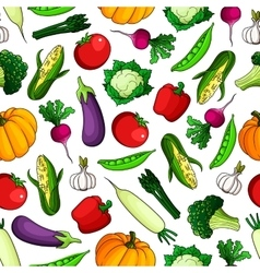 Wholesome fresh vegetables seamless pattern vector