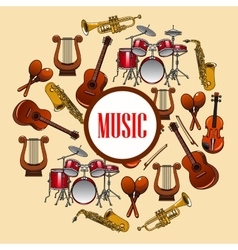 Music poster wind and strings musical instruments vector