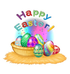 A happy easter greeting with a basket full of eggs vector