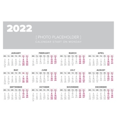 Calendar 2022 year design template vector
