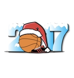 New year numbers 2017 and basketball vector