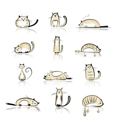 Funny cats collection for your design vector image