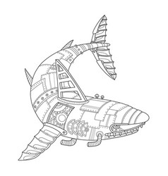 steam punk style shark coloring book vector image