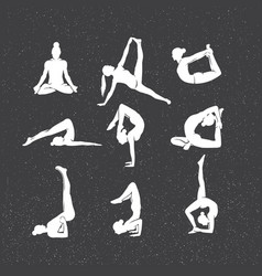 Icons of woman silhouettes in yoga poses vector