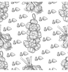 Hand drawn seamless pattern of garlic vector