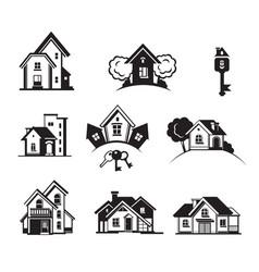 Houses black icon set vector