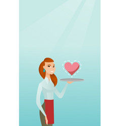 Waitress carrying a tray with a heart vector