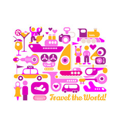 travel the world poster design vector image