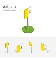 Vatican flag set of 3d isometric icons vector