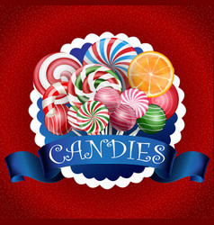 Colorful candy background with realistic blue ribb vector