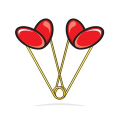 Heart shape paper clips vector