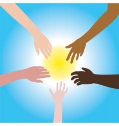 five hands of different races vector image