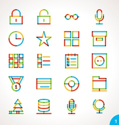 Highlighter line icons set 1 vector