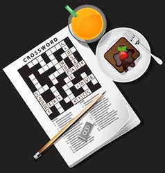 Crossword with orange juice and chocolate cake vector