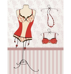 Vintage corset and bra vector