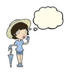 Cartoon woman in summer hat waving with thought vector
