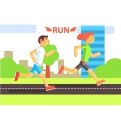 Two runners in the city vector