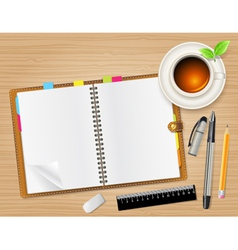 Diary on table vector image
