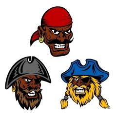 Pirate ship crew with black captain and sailors vector
