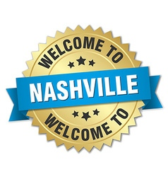 Nashville 3d gold badge with blue ribbon vector