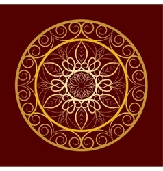 Flower gold mandala over dark red vector