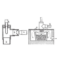 Crucible furnace for melting metal vintage vector