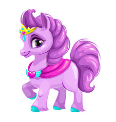 Cute cartoon little horse princess vector
